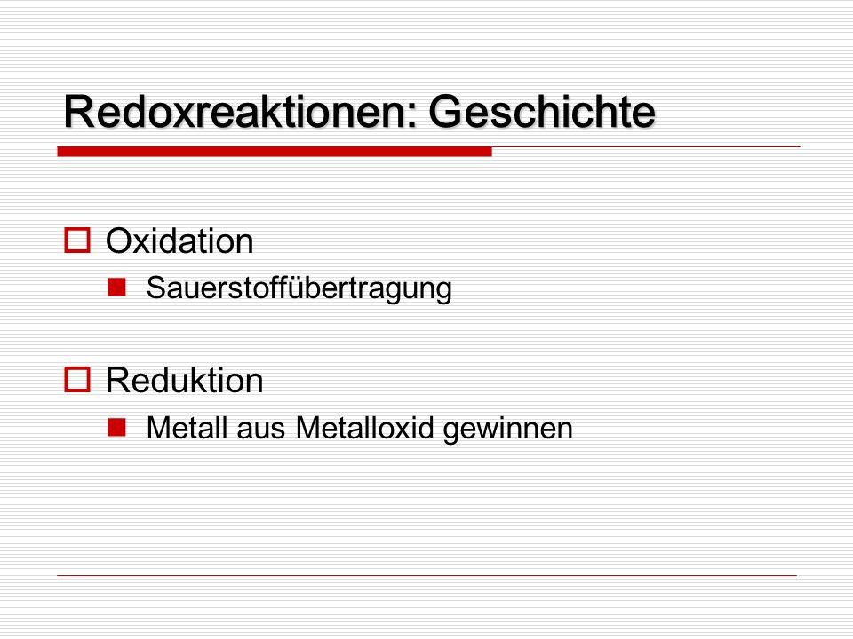Redoxreaktionen: Geschichte Oxidation Sauerstoffübertragung Reduktion Metall aus Metalloxid gewinnen