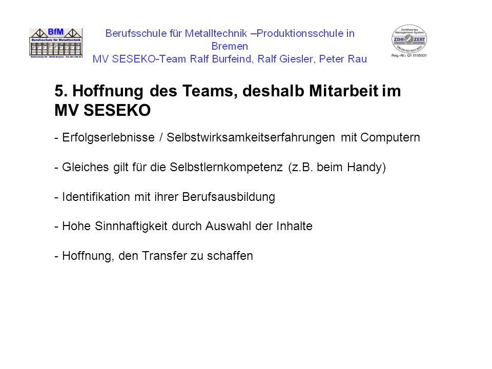 5. Hoffnung des Teams, deshalb Mitarbeit im MV SESEKO - Erfolgserlebnisse / Selbstwirksamkeitserfahrungen mit Computern - Gleiches gilt für die Selbst
