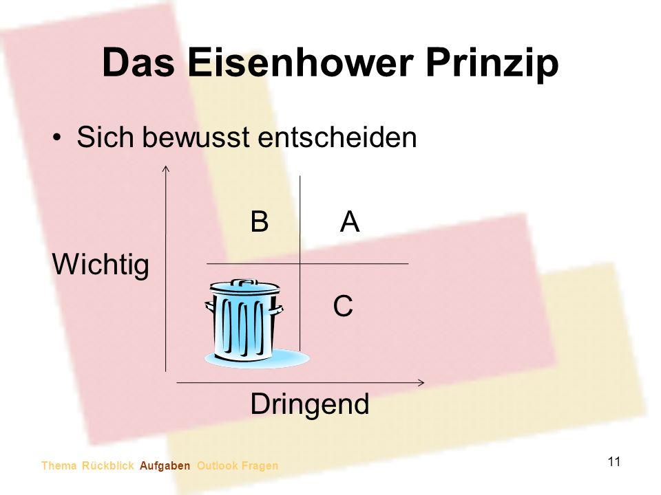 Das Eisenhower Prinzip Sich bewusst entscheiden B A Wichtig C Dringend 11 Thema Rückblick Aufgaben Outlook Fragen