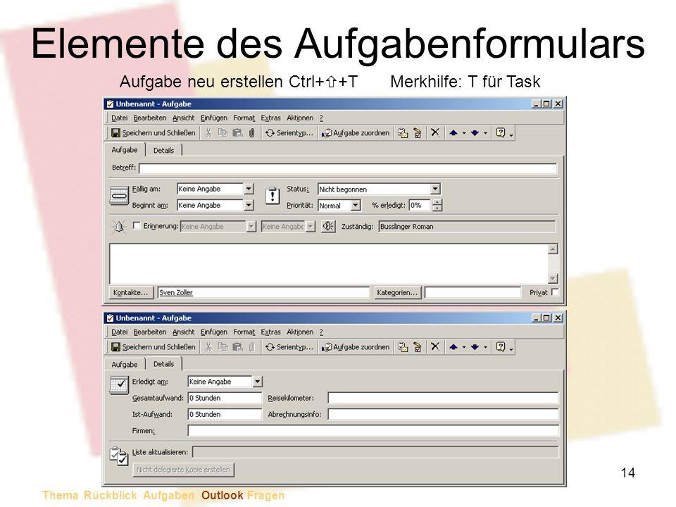Elemente des Aufgabenformulars Aufgabe neu erstellen Ctrl+ +TMerkhilfe: T für Task Thema Rückblick Aufgaben Outlook Fragen 14