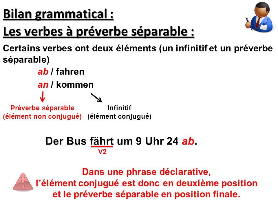Les verbes à préverbe séparable : Dans une phrase déclarative, l'élément conjugué est donc en deuxième position et le préverbe séparable en position f
