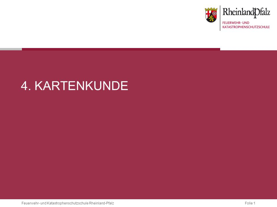 Folie 12Feuerwehr- und Katastrophenschutzschule Rheinland-Pfalz 4.2.2 MAßSTÄBE MaßstabAuf der KarteEntspricht in ZentimeternEntspricht in Metern 1 : 25.0001 cm25.000 cm250 m 1 : 50.0001 cm50.000 cm500 m 1 : 100.0001 cm100.000 cm1000 m Einige gebräuchliche Maßstäbe(Verhältnis der Originalgröße in der Natur, zur Größe der Abbildung auf der Karte) sind:  Je größer der Maßstab, desto ungenauer die Karte, da eine entsprechend größere Strecke aus der Natur auf 1 cm Karte abgebildet werden muss.