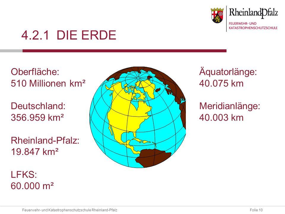 Folie 10Feuerwehr- und Katastrophenschutzschule Rheinland-Pfalz 4.2.1 DIE ERDE Oberfläche: 510 Millionen km² Deutschland: 356.959 km² Rheinland-Pfalz:
