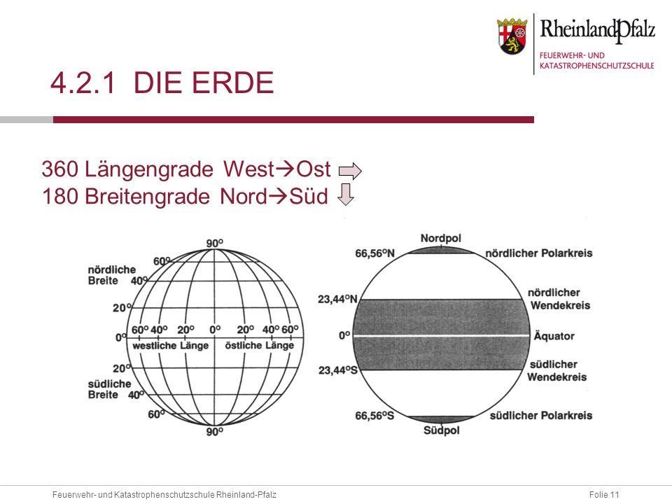 Folie 11Feuerwehr- und Katastrophenschutzschule Rheinland-Pfalz 4.2.1 DIE ERDE 360 Längengrade West  Ost 180 Breitengrade Nord  Süd