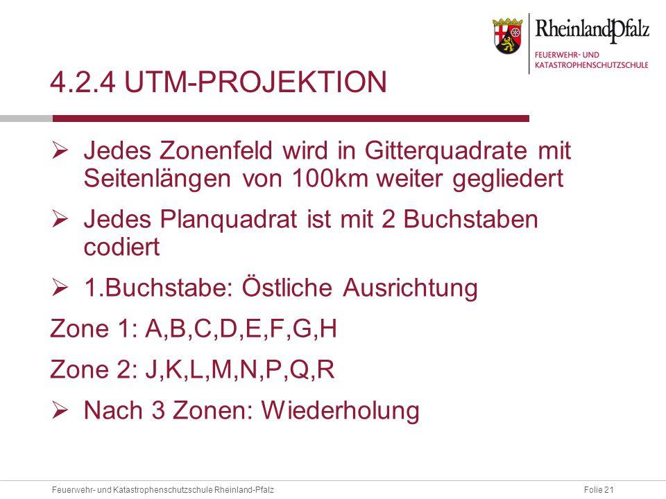 Folie 21Feuerwehr- und Katastrophenschutzschule Rheinland-Pfalz 4.2.4 UTM-PROJEKTION  Jedes Zonenfeld wird in Gitterquadrate mit Seitenlängen von 100