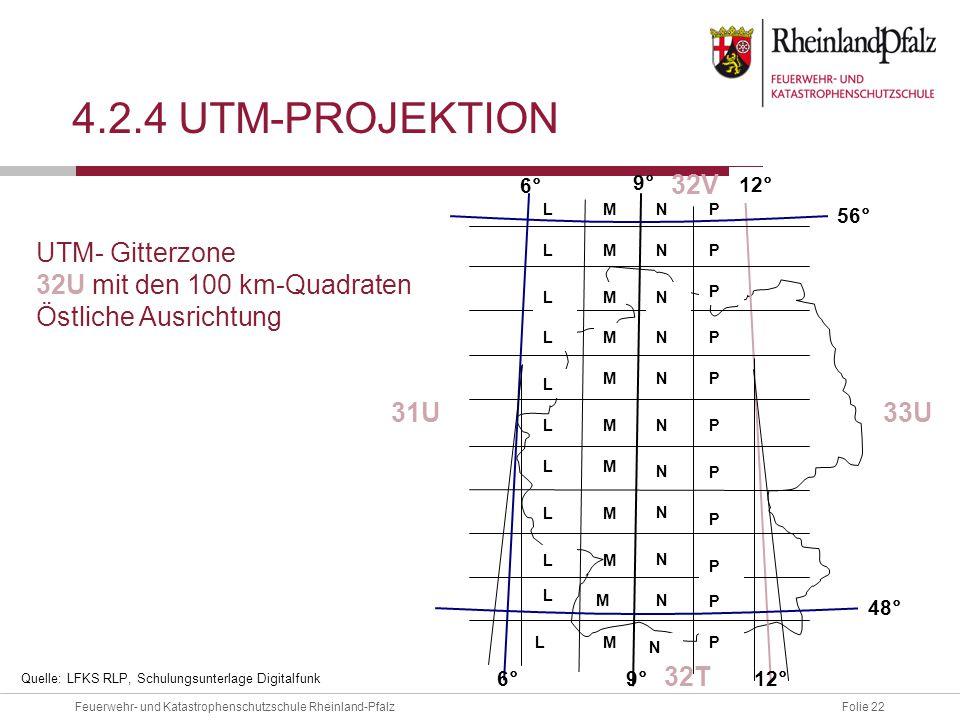Folie 22Feuerwehr- und Katastrophenschutzschule Rheinland-Pfalz 4.2.4 UTM-PROJEKTION 9° 31U33U 32V M M M M M M M M M M M L L L L L L L L L L LT N N N