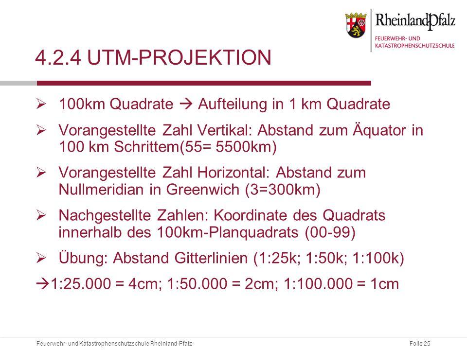 Folie 25Feuerwehr- und Katastrophenschutzschule Rheinland-Pfalz 4.2.4 UTM-PROJEKTION  100km Quadrate  Aufteilung in 1 km Quadrate  Vorangestellte Z