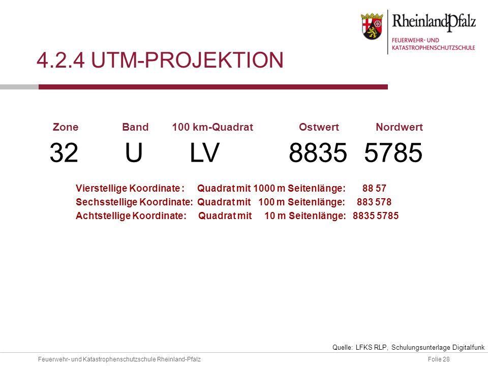 Folie 28Feuerwehr- und Katastrophenschutzschule Rheinland-Pfalz 4.2.4 UTM-PROJEKTION 32 U LV 8835 5785 ZoneBand100 km-QuadratOstwertNordwert Vierstell