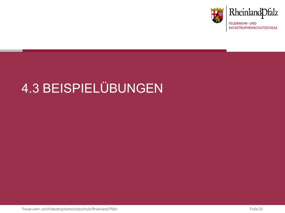Folie 30 Feuerwehr- und Katastrophenschutzschule Rheinland-Pfalz 4.3 BEISPIELÜBUNGEN