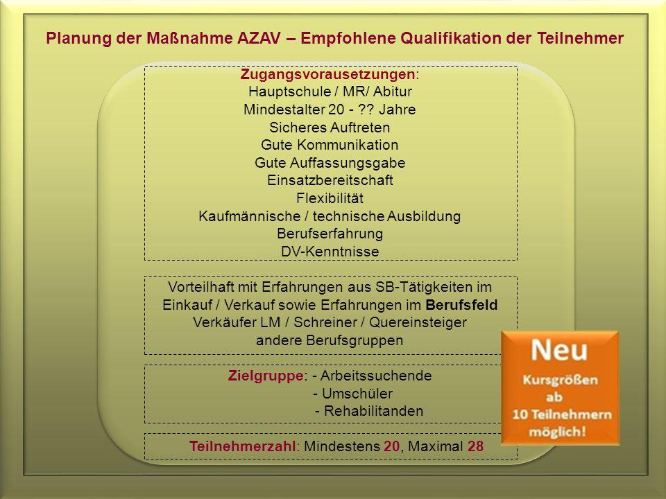 Planung der Maßnahme AZAV – Empfohlene Qualifikation der Teilnehmer Zugangsvorausetzungen: Hauptschule / MR/ Abitur Mindestalter 20 - .