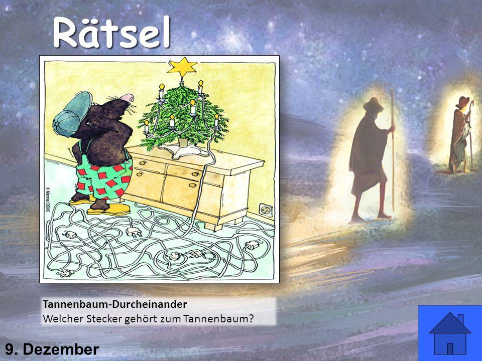 9. Dezember Rätsel Tannenbaum-Durcheinander Welcher Stecker gehört zum Tannenbaum?
