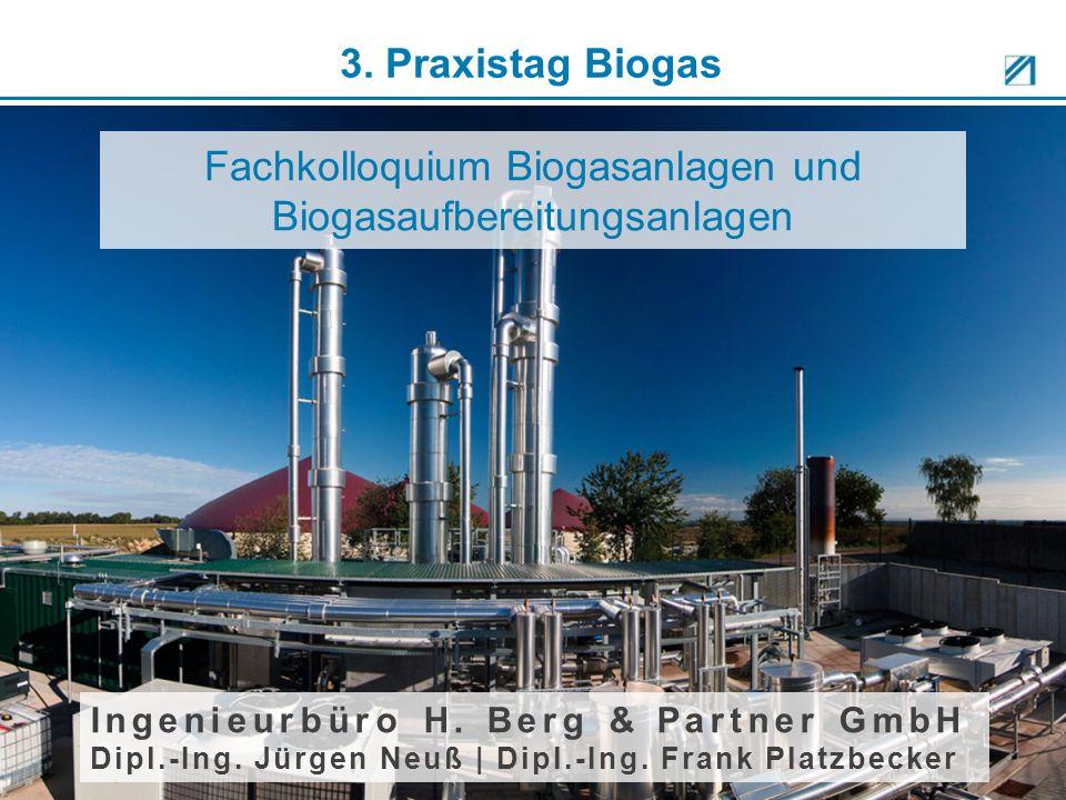 Fachkolloquium Biogasanlagen und Biogasaufbereitungsanlagen Ingenieurbüro H. Berg & Partner GmbH Dipl.-Ing. Jürgen Neuß | Dipl.-Ing. Frank Platzbecker