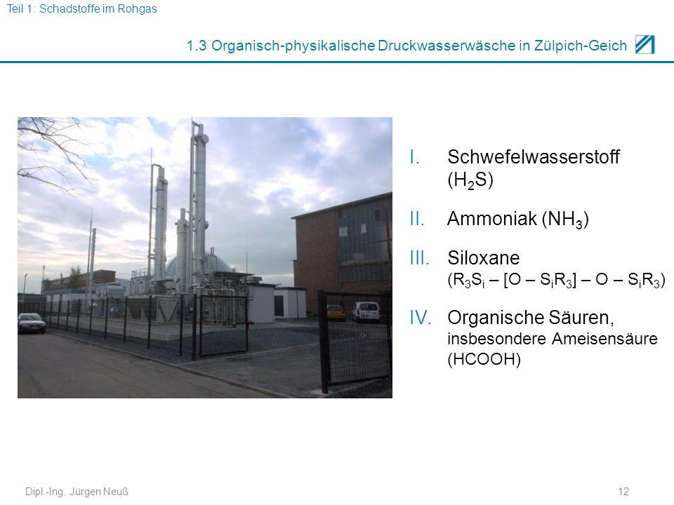 Dipl.-Ing. Jürgen Neuß12 1.3 Organisch-physikalische Druckwasserwäsche in Zülpich-Geich I.Schwefelwasserstoff (H 2 S) II.Ammoniak (NH 3 ) III.Siloxane