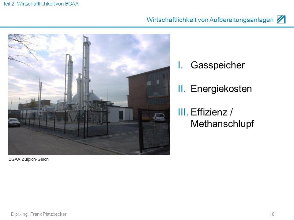 18 Wirtschaftlichkeit von Aufbereitungsanlagen I.Gasspeicher II.Energiekosten III.Effizienz / Methanschlupf Teil 2: Wirtschaftlichkeit von BGAA BGAA Z