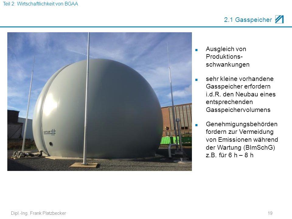 Dipl.-Ing. Frank Platzbecker19 2.1 Gasspeicher ■ Ausgleich von Produktions- schwankungen ■ sehr kleine vorhandene Gasspeicher erfordern i.d.R. den Neu
