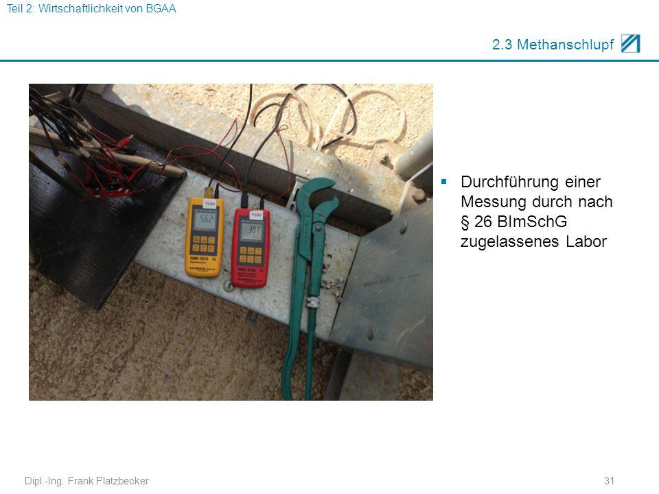 Dipl.-Ing. Frank Platzbecker31 2.3 Methanschlupf  Durchführung einer Messung durch nach § 26 BImSchG zugelassenes Labor Teil 2: Wirtschaftlichkeit vo