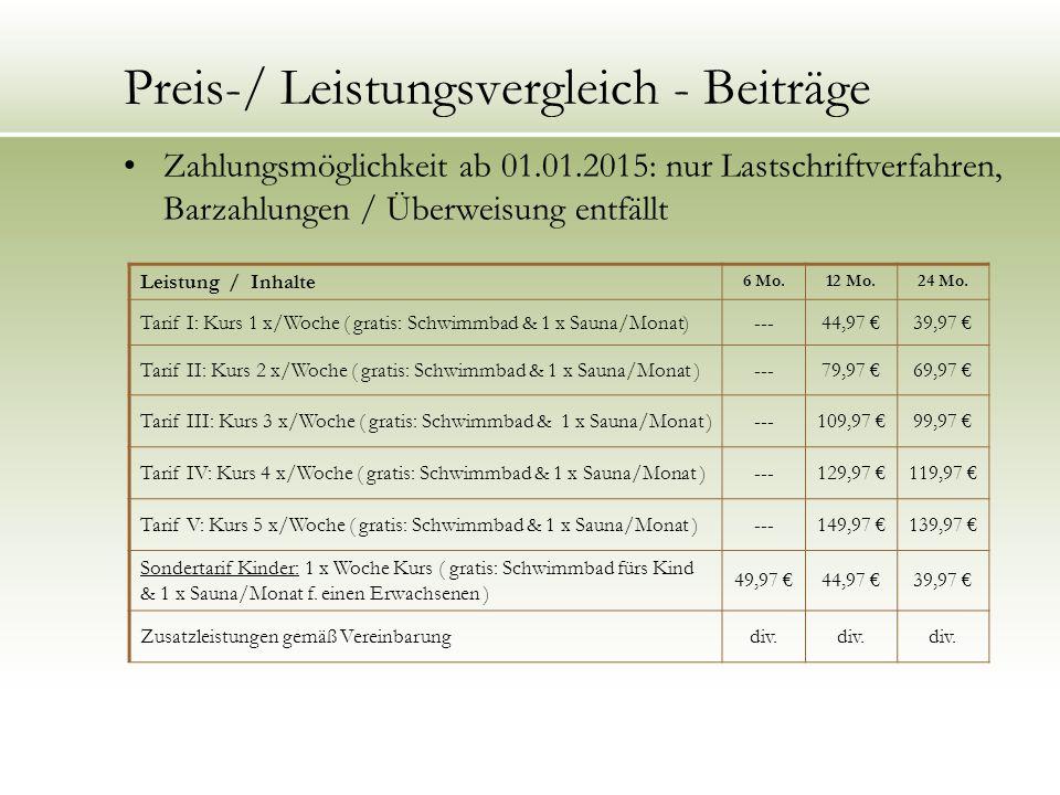 Preis-/ Leistungsvergleich - Beiträge Zahlungsmöglichkeit ab 01.01.2015: nur Lastschriftverfahren, Barzahlungen / Überweisung entfällt Leistung / Inhalte 6 Mo.12 Mo.24 Mo.