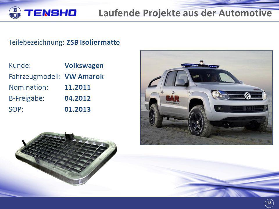 13 Laufende Projekte aus der Automotive Teilebezeichnung: ZSB Isoliermatte Fahrzeugmodell:VW Amarok Nomination:11.2011 B-Freigabe:04.2012 SOP:01.2013