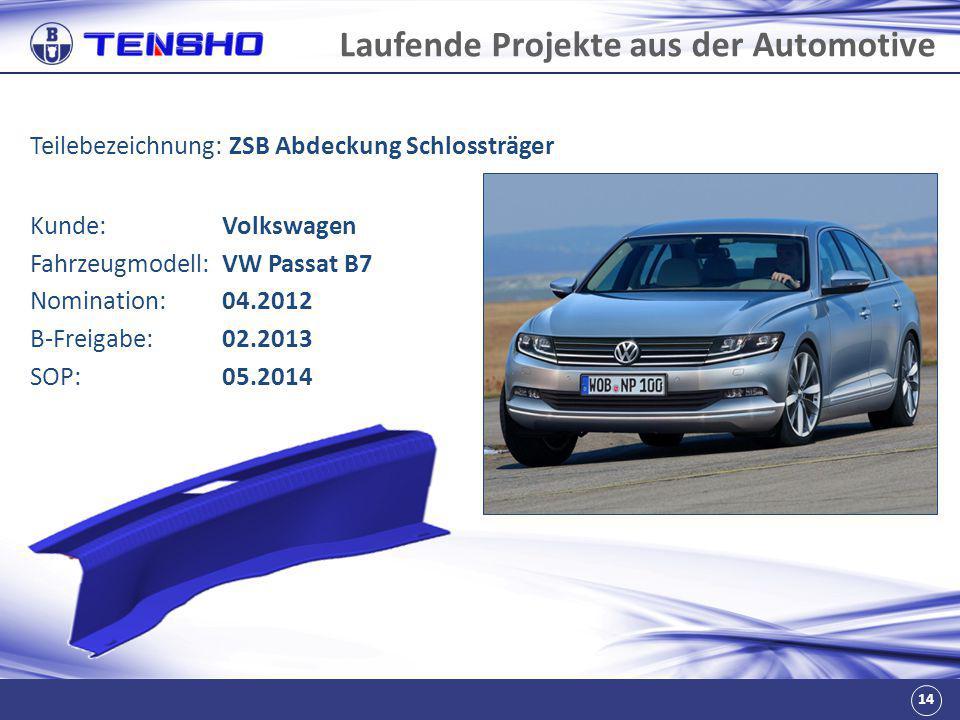 14 Laufende Projekte aus der Automotive Teilebezeichnung: ZSB Abdeckung Schlossträger Fahrzeugmodell:VW Passat B7 Nomination:04.2012 B-Freigabe:02.201
