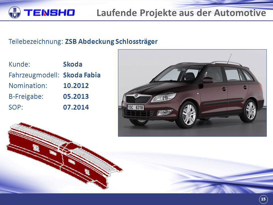 15 Laufende Projekte aus der Automotive Teilebezeichnung: ZSB Abdeckung Schlossträger Fahrzeugmodell:Skoda Fabia Nomination:10.2012 B-Freigabe:05.2013