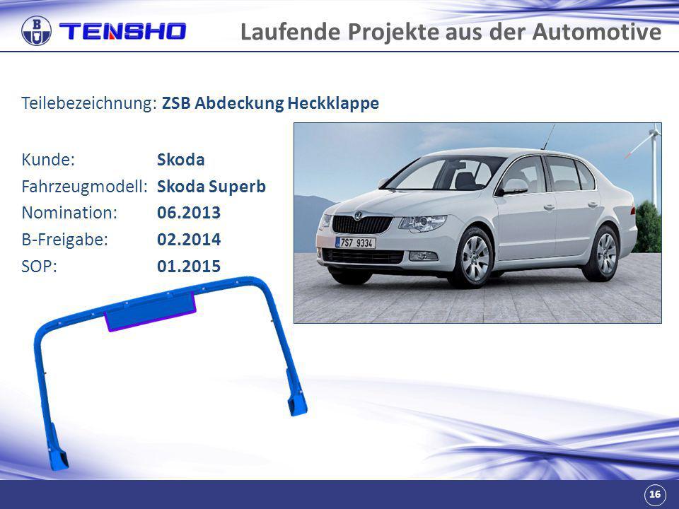 16 Laufende Projekte aus der Automotive Teilebezeichnung: ZSB Abdeckung Heckklappe Fahrzeugmodell:Skoda Superb Nomination:06.2013 B-Freigabe:02.2014 S