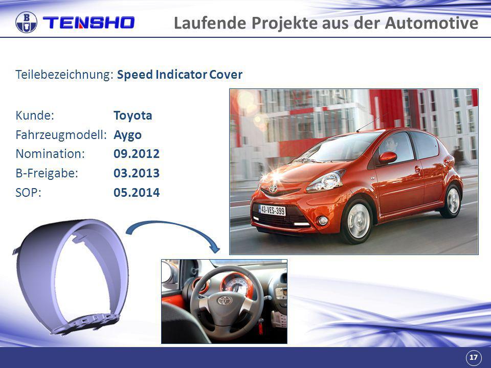 17 Laufende Projekte aus der Automotive Teilebezeichnung: Speed Indicator Cover Fahrzeugmodell:Aygo Nomination:09.2012 B-Freigabe:03.2013 SOP:05.2014