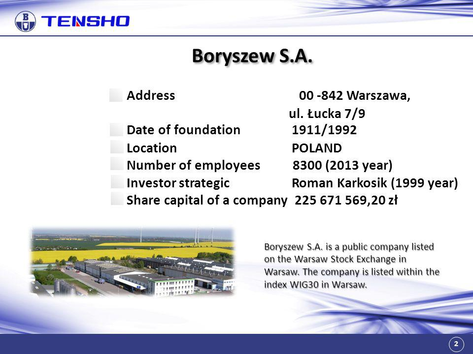 2 Boryszew S.A. Address 00 -842 Warszawa, ul. Łucka 7/9 Date of foundation 1911/1992 Location POLAND Number of employees 8300 (2013 year) Investor str