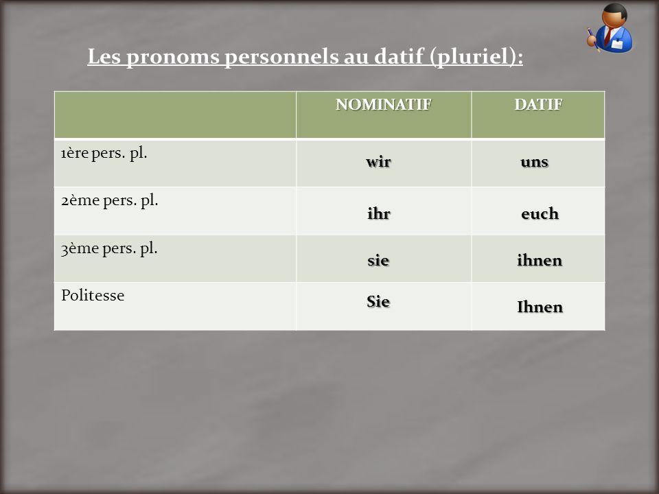Les pronoms personnels au datif (pluriel): NOMINATIFDATIF 1ère pers. pl. 2ème pers. pl. 3ème pers. pl. Politesse wir ihr sie Sie uns euch ihnen Ihnen