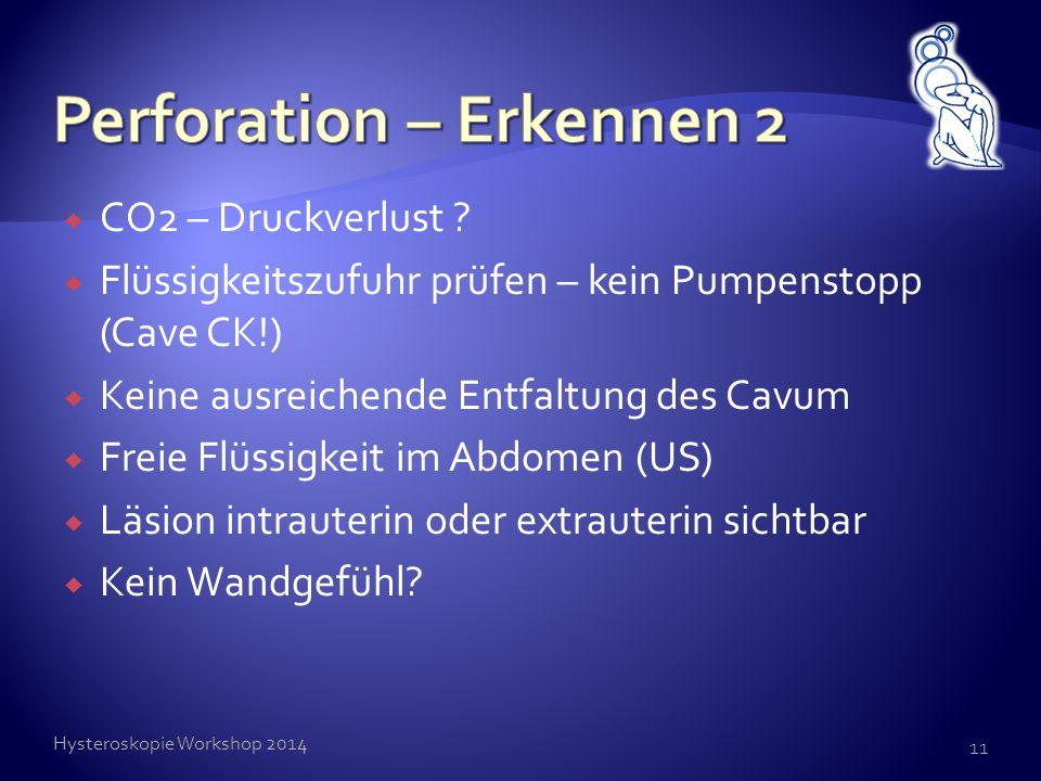  CO2 – Druckverlust ?  Flüssigkeitszufuhr prüfen – kein Pumpenstopp (Cave CK!)  Keine ausreichende Entfaltung des Cavum  Freie Flüssigkeit im Abdo