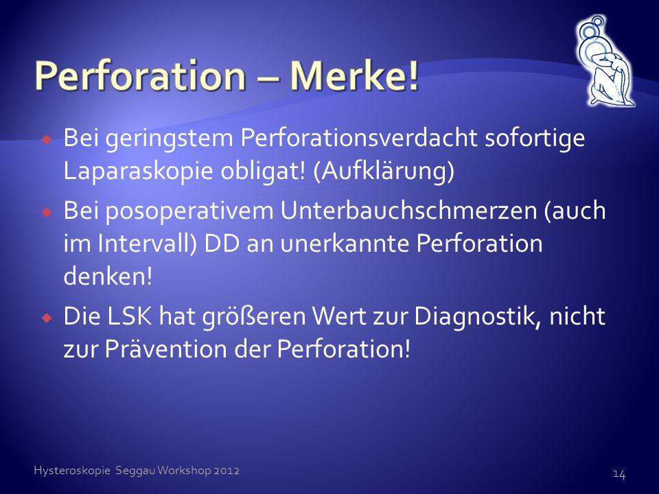  Bei geringstem Perforationsverdacht sofortige Laparaskopie obligat! (Aufklärung)  Bei posoperativem Unterbauchschmerzen (auch im Intervall) DD an u