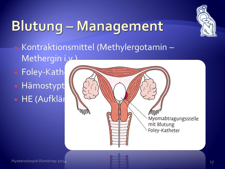  Kontraktionsmittel (Methylergotamin – Methergin i.v.)  Foley-Katheder intracavitär (24h)  Hämostyptika  HE (Aufklärung!) Hysteroskopie Workshop 2