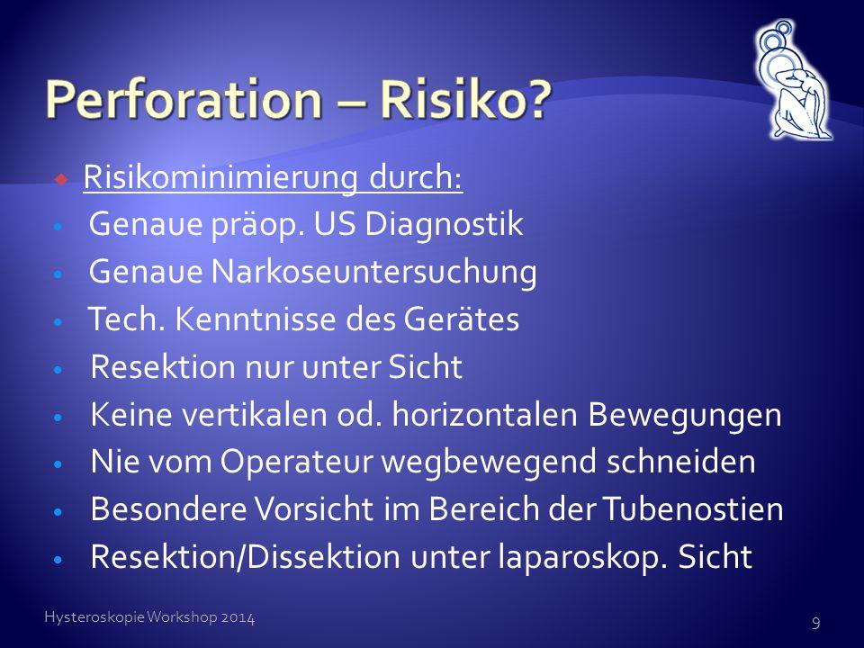  Risikominimierung durch: Genaue präop. US Diagnostik Genaue Narkoseuntersuchung Tech. Kenntnisse des Gerätes Resektion nur unter Sicht Keine vertika