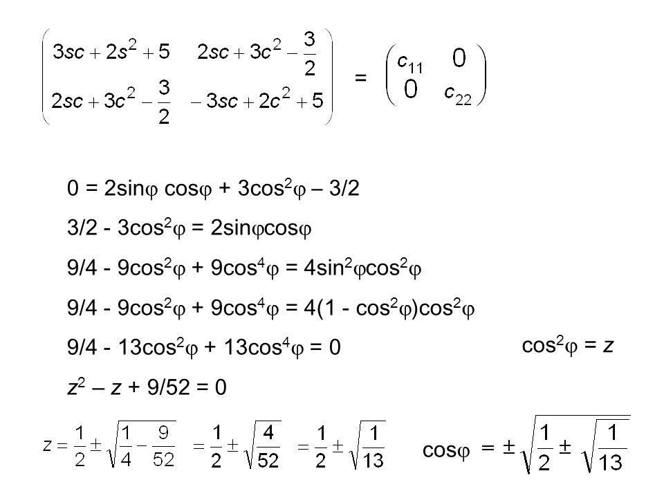 = 0 = 2sin  cos  + 3cos 2  – 3/2 3/2 - 3cos 2  = 2sin  cos  9/4 - 9cos 2  + 9cos 4  = 4sin 2  cos 2  9/4 - 9cos 2  + 9cos 4  = 4(1 - cos 2  )cos 2 
