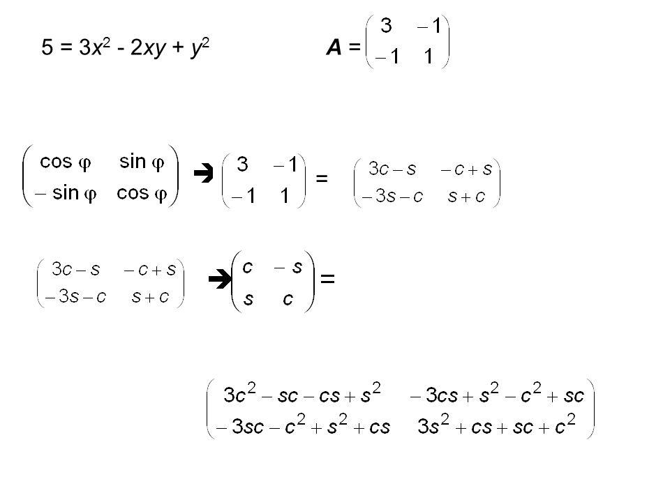 1 = x 2 + 2xy + y 2 A = c 11 + c 22 = 2 c 11  c 22 = 0 c 11 = 0 oder c 22 = 0 1 = (x + y) 2 y = -x  1 u v x y u v