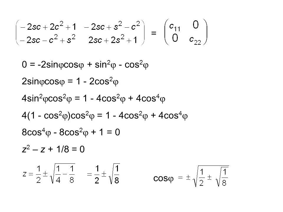 = 0 = -2sin  cos  + sin 2  - cos 2  2sin  cos  = 1 - 2cos 2  4sin 2  cos 2  = 1 - 4cos 2  + 4cos 4  4(1 - cos 2  )cos 2  = 1 - 4cos 2  + 4cos 4  8cos 4  - 8cos 2  + 1 = 0