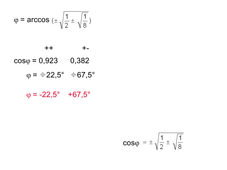= 0 = -2sin  cos  + sin 2  - cos 2  2sin  cos  = 1 - 2cos 2  4sin 2  cos 2  = 1 - 4cos 2  + 4cos 4  4(1 - cos 2  )cos 2  = 1 - 4cos 2  + 4cos 4  8cos 4  - 8cos 2  + 1 = 0 z 2 – z + 1/8 = 0 cos 