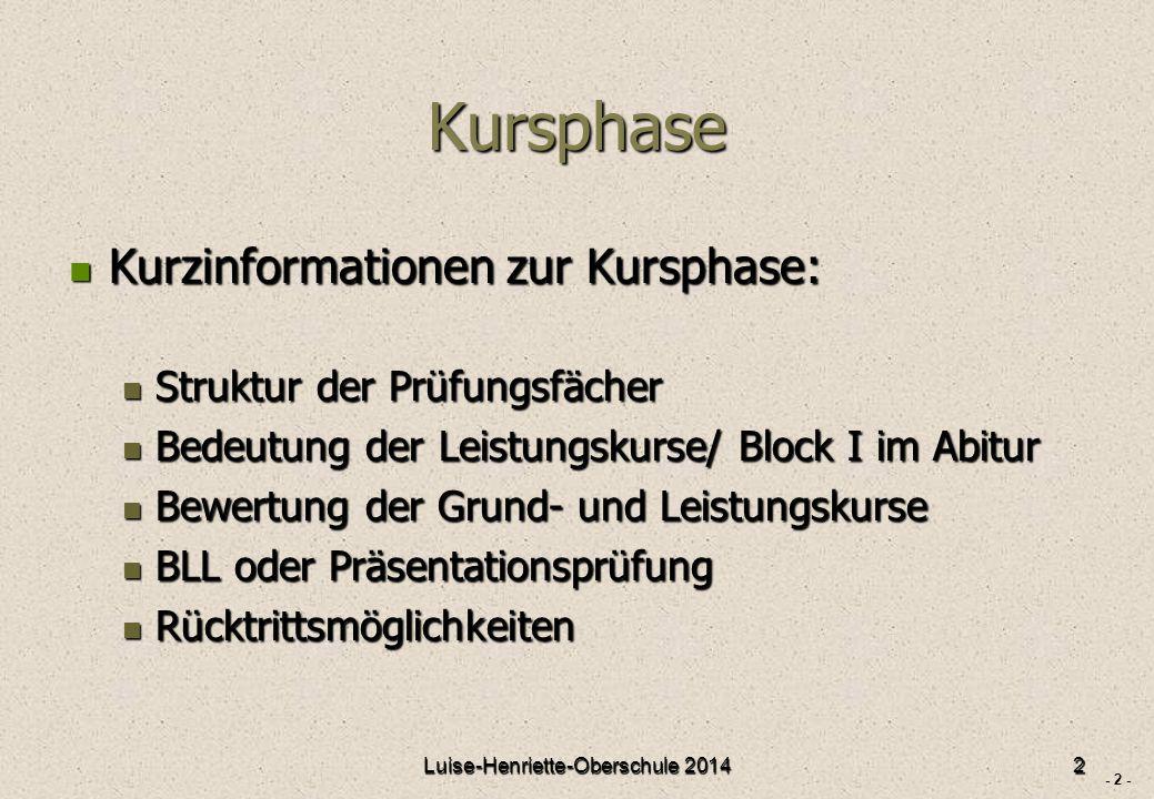 - 3 - Prüfungsfächer Luise-Henriette-Oberschule 20143
