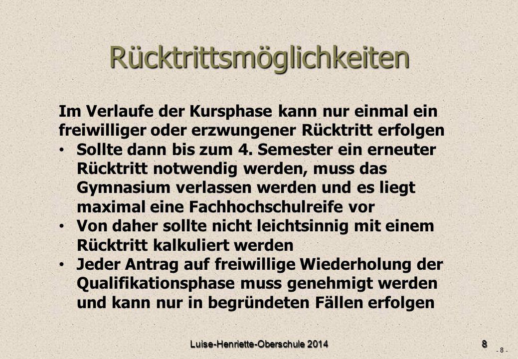 - 8 - Rücktrittsmöglichkeiten Luise-Henriette-Oberschule 20148 Im Verlaufe der Kursphase kann nur einmal ein freiwilliger oder erzwungener Rücktritt erfolgen Sollte dann bis zum 4.
