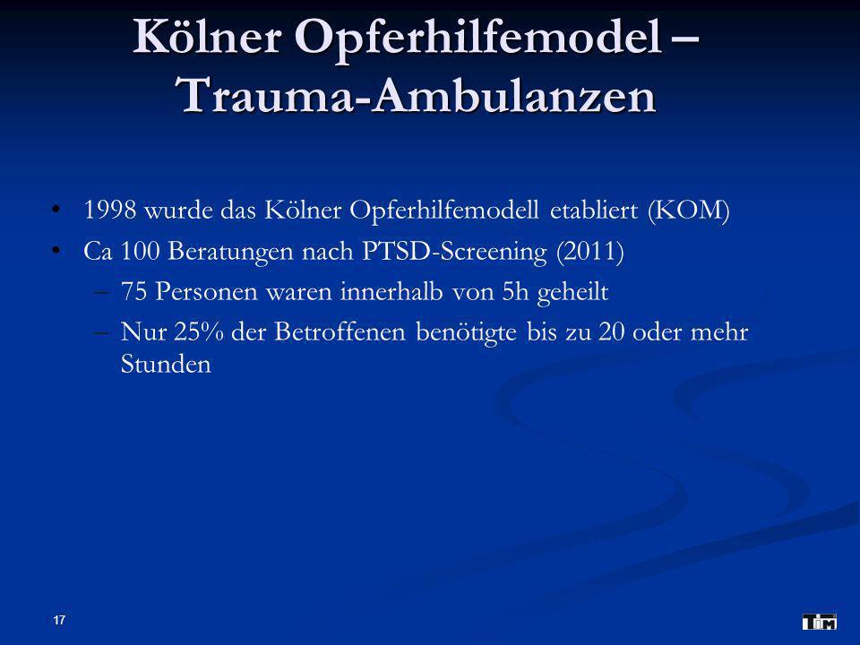 17 Kölner Opferhilfemodel – Trauma-Ambulanzen 1998 wurde das Kölner Opferhilfemodell etabliert (KOM) Ca 100 Beratungen nach PTSD-Screening (2011) – –