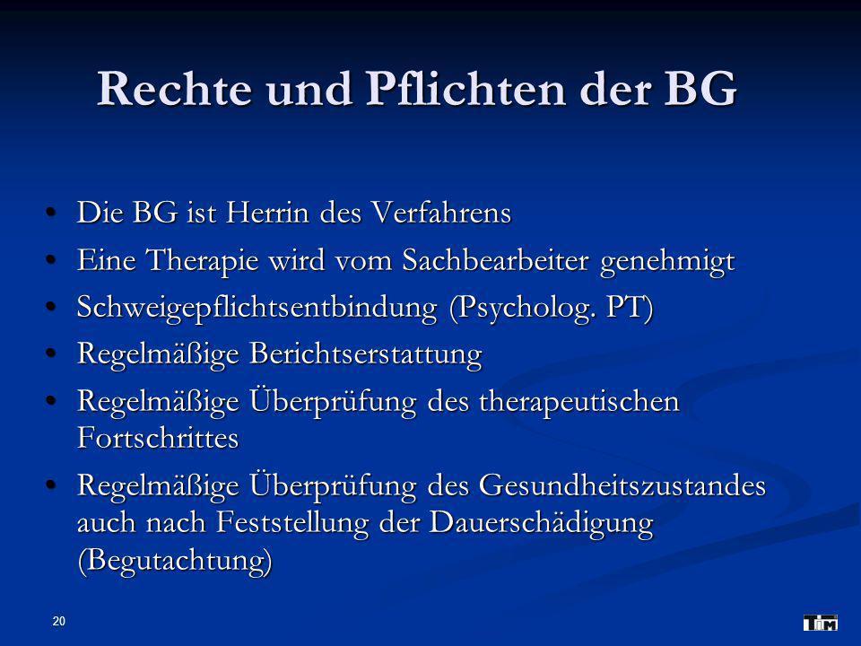 20 Rechte und Pflichten der BG Die BG ist Herrin des Verfahrens Die BG ist Herrin des Verfahrens Eine Therapie wird vom Sachbearbeiter genehmigt Eine