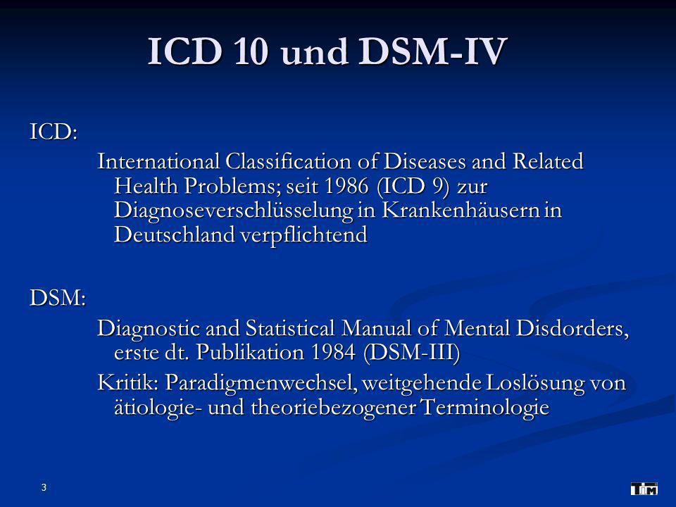 3 ICD 10 und DSM-IV ICD: International Classification of Diseases and Related Health Problems; seit 1986 (ICD 9) zur Diagnoseverschlüsselung in Krankenhäusern in Deutschland verpflichtend DSM: Diagnostic and Statistical Manual of Mental Disdorders, erste dt.