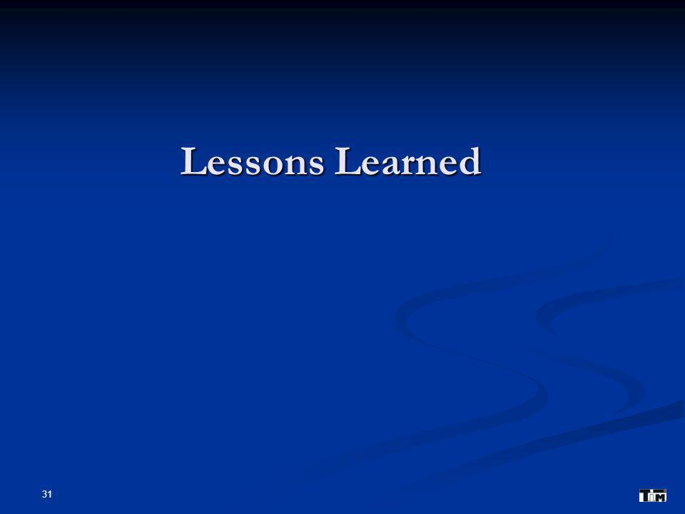 31 Lessons Learned