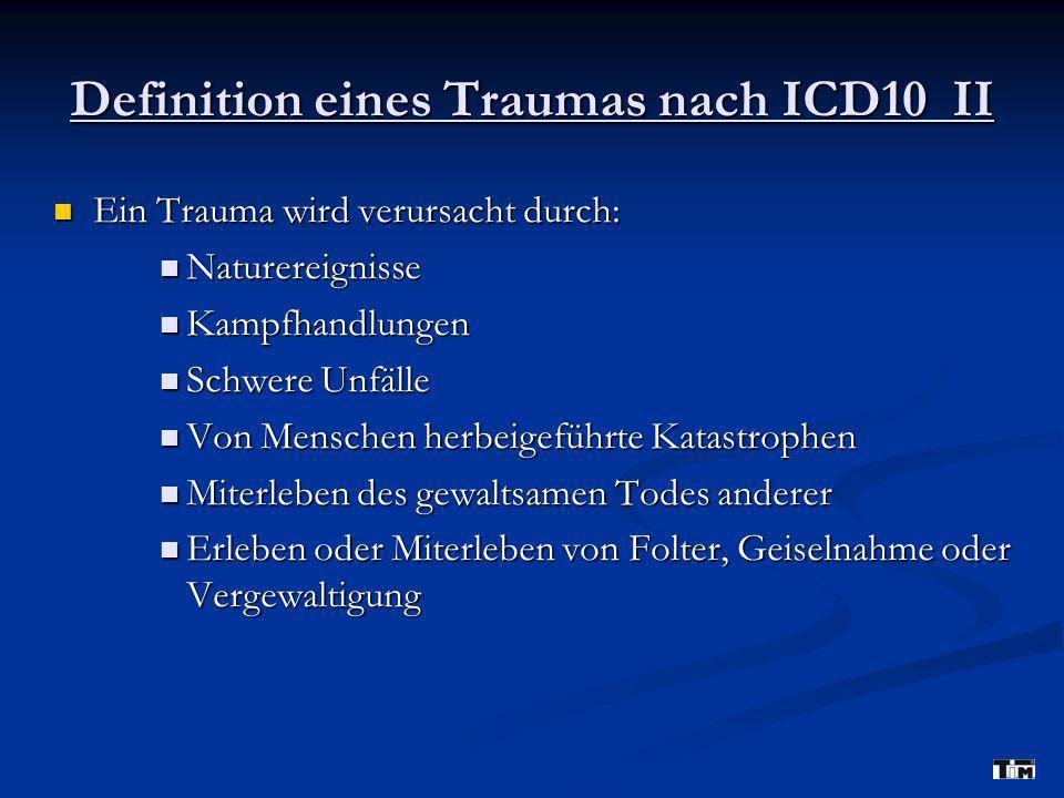 Trauma-Definition nach DSM-IV Subjektive Merkmale eines Traumas: Subjektive Merkmale eines Traumas: Das Erleben intensiver Hilflosigkeit Das Erleben intensiver Hilflosigkeit Erleben intensiver Furcht Erleben intensiver Furcht Erleben intensiven Entsetzens Erleben intensiven Entsetzens