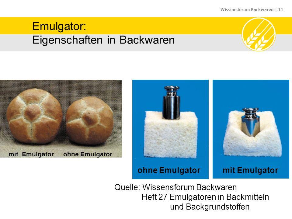Wissensforum Backwaren | 11 Emulgator: Eigenschaften in Backwaren mit Emulgator ohne Emulgator ohne Emulgatormit Emulgator Quelle: Wissensforum Backwa