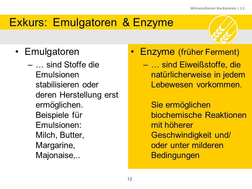 Wissensforum Backwaren | 12 12 Exkurs: Emulgatoren & Enzyme Emulgatoren –… sind Stoffe die Emulsionen stabilisieren oder deren Herstellung erst ermögl
