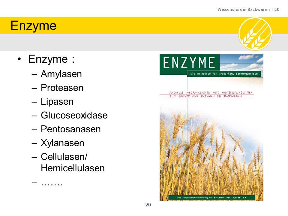 Wissensforum Backwaren | 20 20 Enzyme Enzyme : –Amylasen –Proteasen –Lipasen –Glucoseoxidase –Pentosanasen –Xylanasen –Cellulasen/ Hemicellulasen –…….