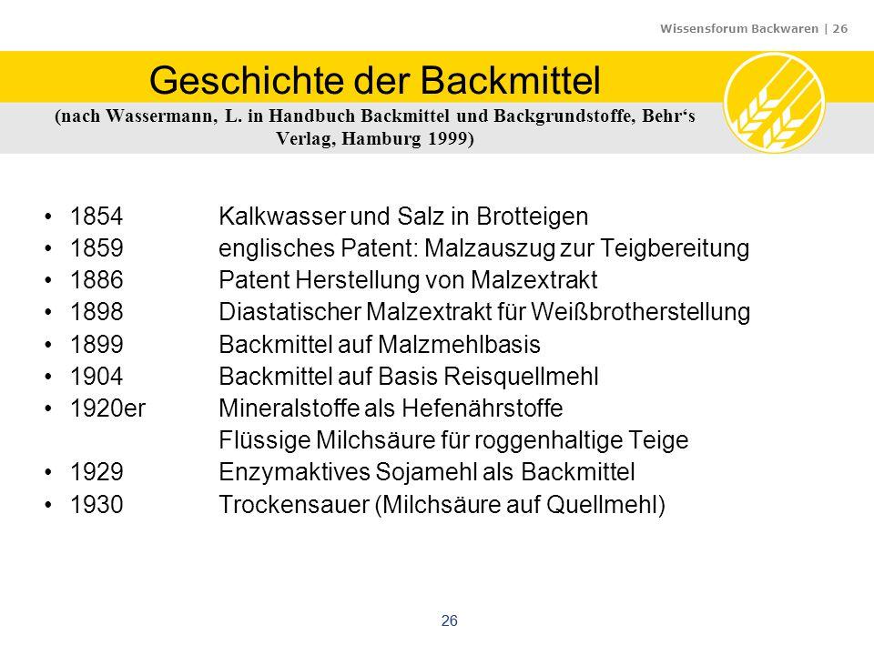 Wissensforum Backwaren | 26 26 Geschichte der Backmittel (nach Wassermann, L. in Handbuch Backmittel und Backgrundstoffe, Behr's Verlag, Hamburg 1999)
