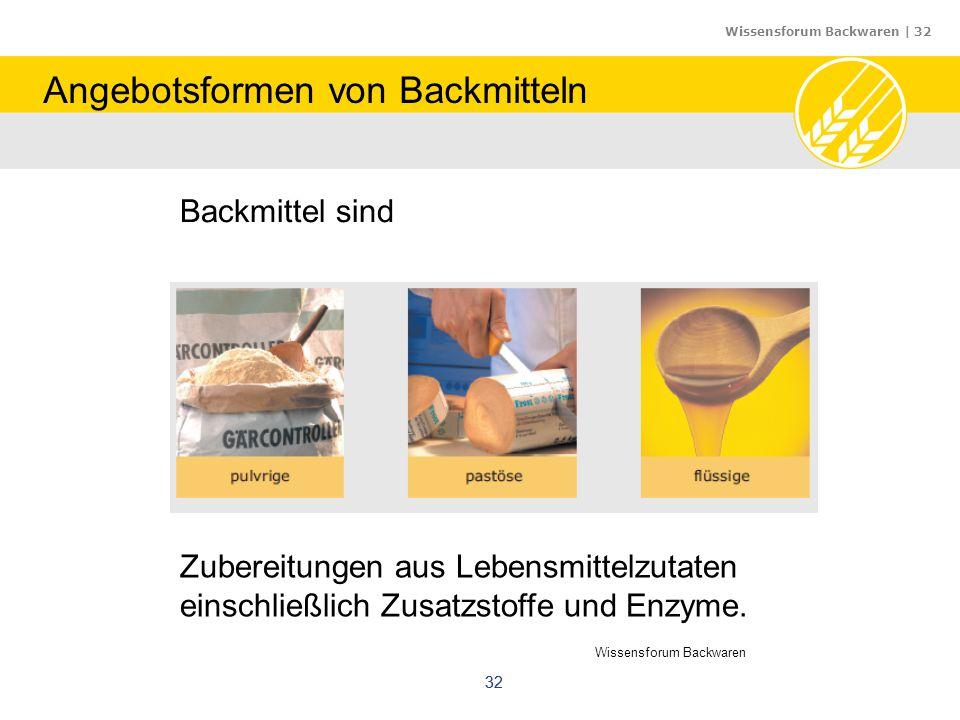 Wissensforum Backwaren | 32 32 Backmittel sind Zubereitungen aus Lebensmittelzutaten einschließlich Zusatzstoffe und Enzyme. Wissensforum Backwaren An