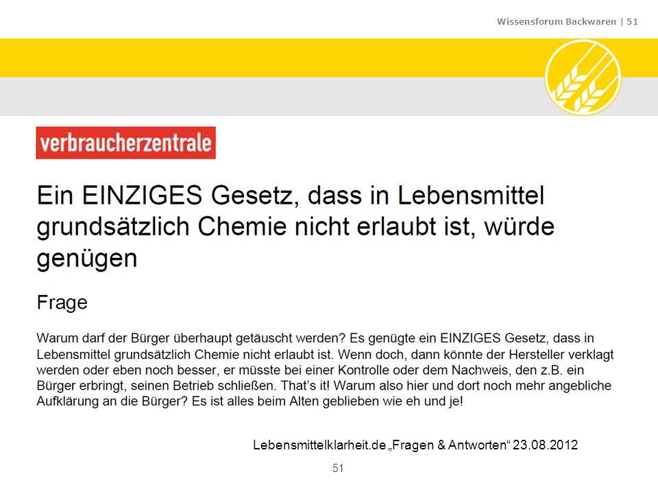 "Wissensforum Backwaren | 51 51 Lebensmittelklarheit.de ""Fragen & Antworten"" 23.08.2012"