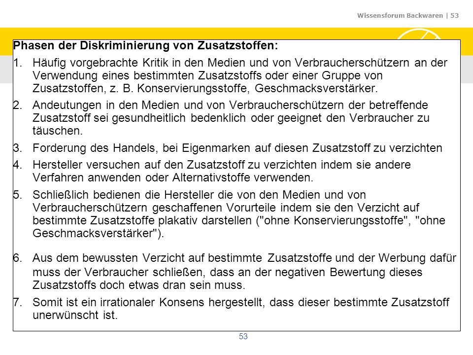 Wissensforum Backwaren | 53 53 Phasen der Diskriminierung von Zusatzstoffen: 1.Häufig vorgebrachte Kritik in den Medien und von Verbraucherschützern a